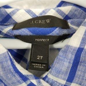 J. Crew Tops - J. Crew Tall Perfect Shhirt in Blue Rinkle Plaid
